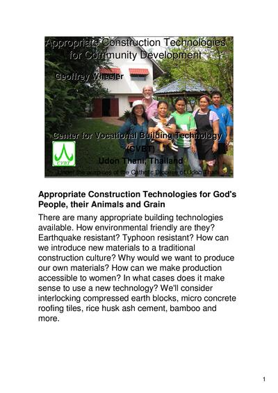 Appropriate construction technologies for community development  0