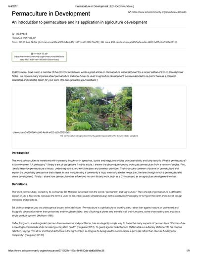 Permaculture in development  0