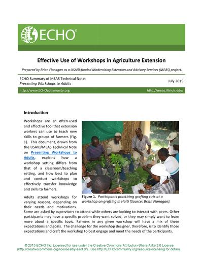 Effective use of workshops in agriculture extension thumbnail 0