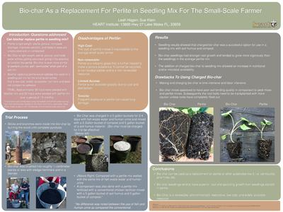 Poster bio char as a replacement for perlite in seedling mix for the small scale farmer  0