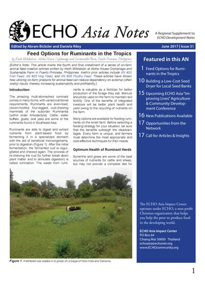 Feed options for ruminants in the tropics  0