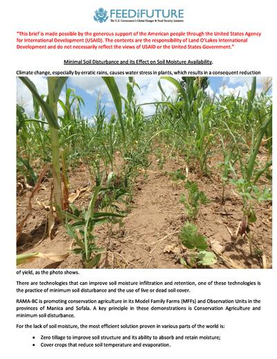 Minimal soil disturbance and its effect on soil moisture availability  0