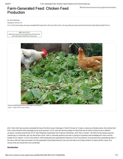 Farm-Generated Feed: Chicken Feed Production | ECHOcommunity org